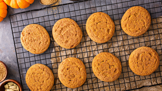 Fall snickerdoodle cookies with pumpkin and cinnamon overhead shot_362203