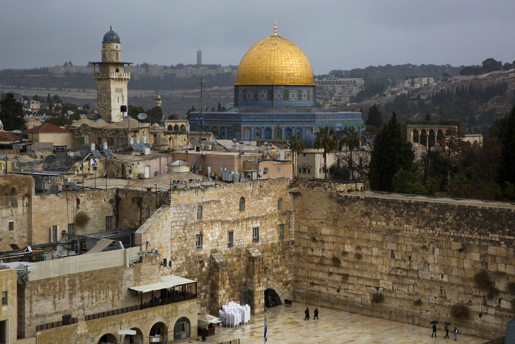 A view of the Western Wall and the Dome of the Rock, some of the holiest sites for for Jews and Muslims, is seen in Jerusalem's Old City, Wednesday, Dec. 6, 2017. U.S. officials say President Donald Trump will recognize Jerusalem as Israel's...