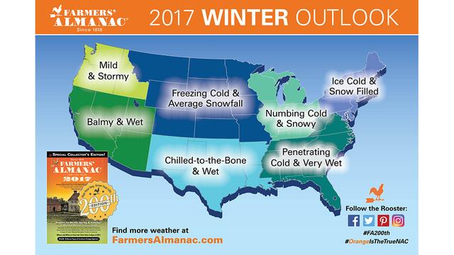 Farmers Almanac Predicts Biting Cold Snowy Winter - Us-snow-forecast-map