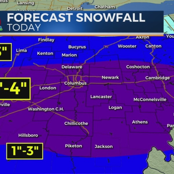 Accumulating snow with a wintry mess turning wet on Wednesday morning