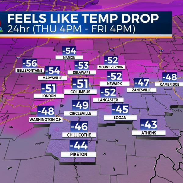 Massive drop in temperatures Thursday to Friday