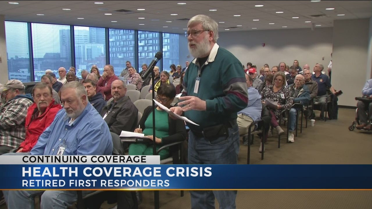 Retired police and firefighters continue to demand changes to health care coverage