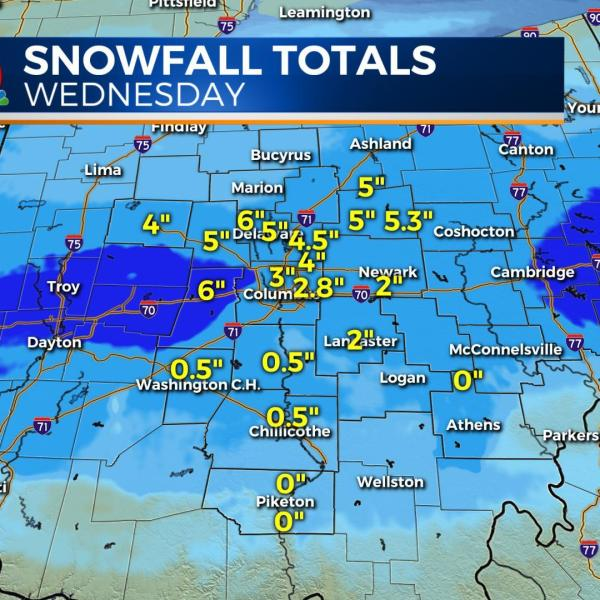 Snowfall totals from a messy Wednesday morning