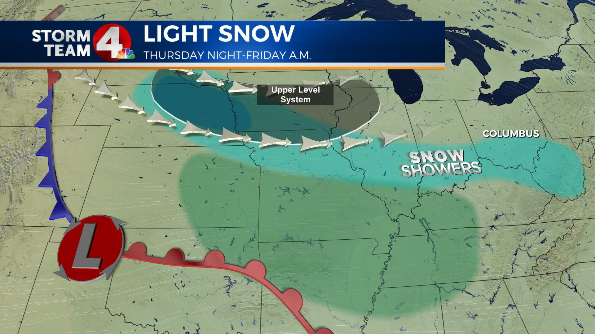 Light snow will brush the Columbus area Friday morning, heavier in southern Ohio.