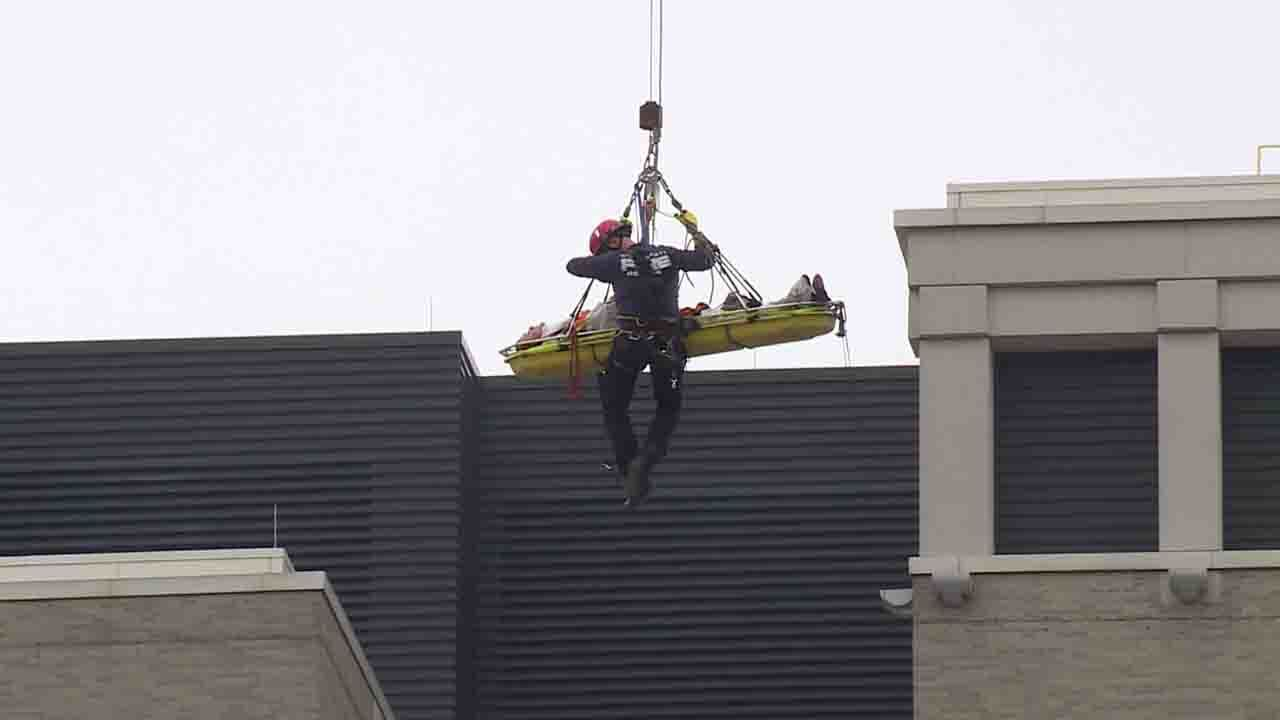 Crane worker stranded 300 feet in the air rescued