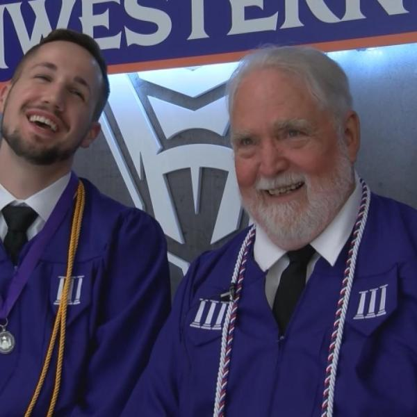 Vietnam veteran graduates college with grandson