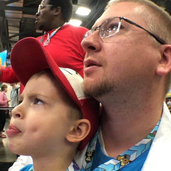Father Son play pokemon video game