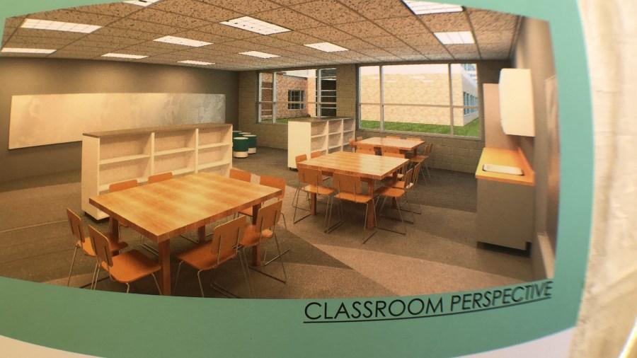 Northridge elementary classroom perspective rendering