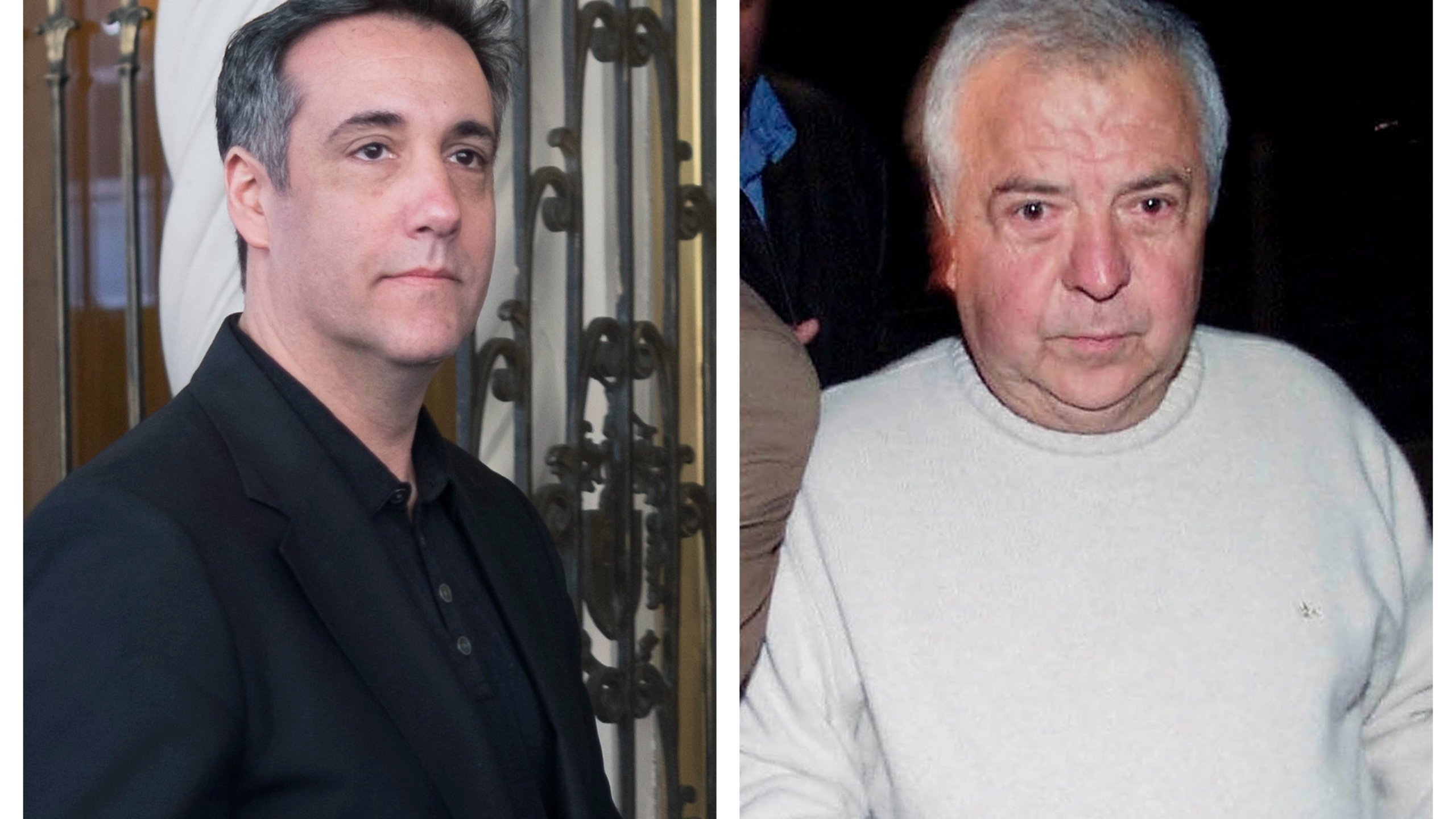 Michael Cohen, left, President Donald Trump's former personal attorney, and drug kingpin Gilberto Rodriguez Orejuela. Amid the COVID-19 coronavirus threat, they are among the prisoners making pleas for compassionate release or home detention. (AP Photo/Jonathan Carroll, Javier Galeano)