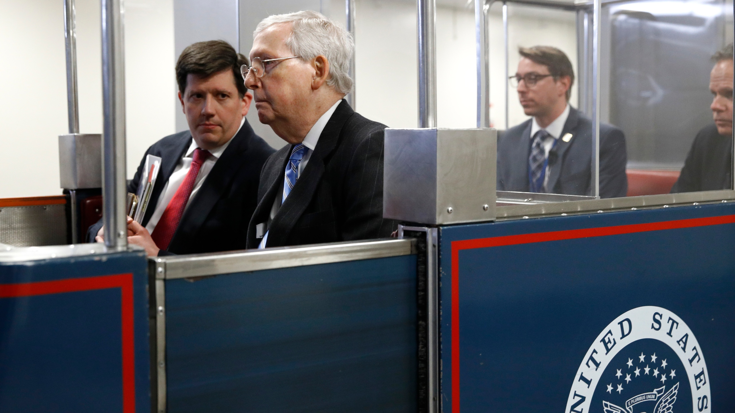 Senate Majority Leader Mitch McConnell of Ky., rides a subway car on Capitol Hill in Washington before a vote on a coronavirus response bill. (AP file/Patrick Semansky)
