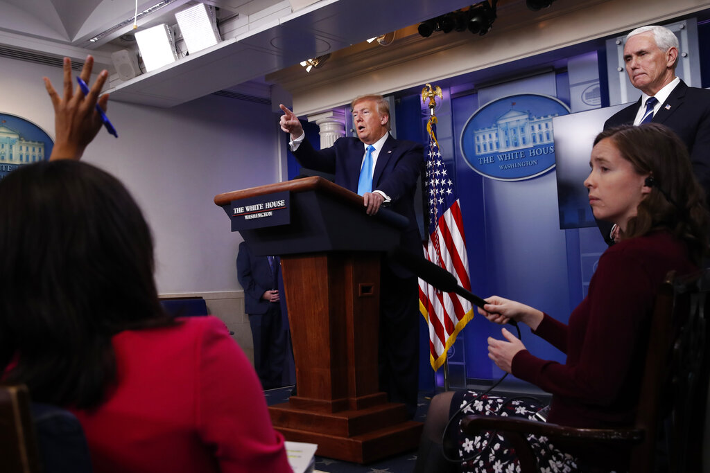 President Donald Trump calls on a reporter for a question as he speaks about the coronavirus in the James Brady Press Briefing Room of the White House. First, it was the media that was at fault. Then, Democratic governors came under fire. China, President Barack Obama and federal watchdogs have all had a turn in the crosshairs. And now it's the World Health Organization that's to blame. (AP Photo/Alex Brandon)