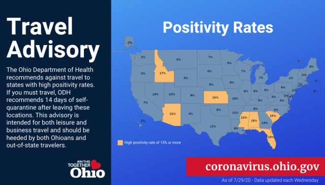 Ohio Travel Advisory List Updated With States With New Highest Positivity Rates Nbc4 Wcmh Tv