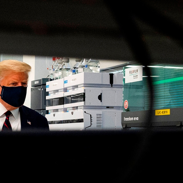 Trump vaccine tour mask