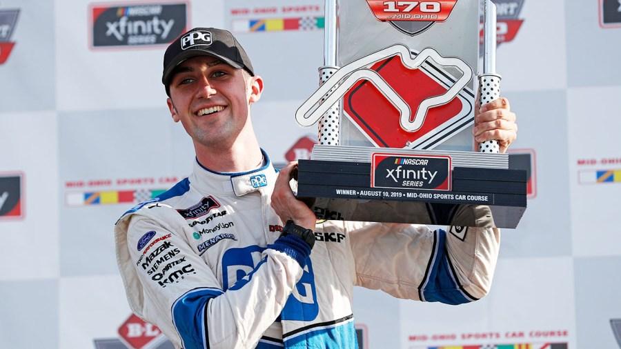 Austin Cindric Mid-Ohio trophy