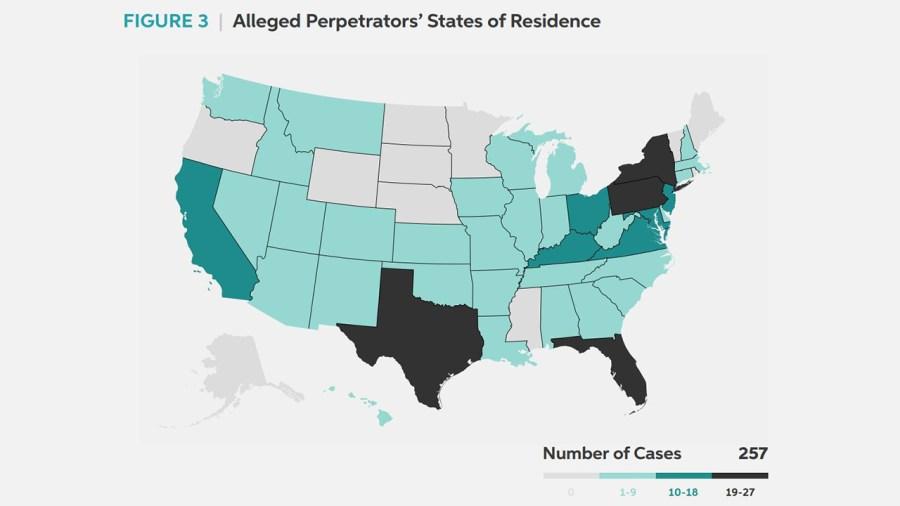 GWU capitol riot report state map