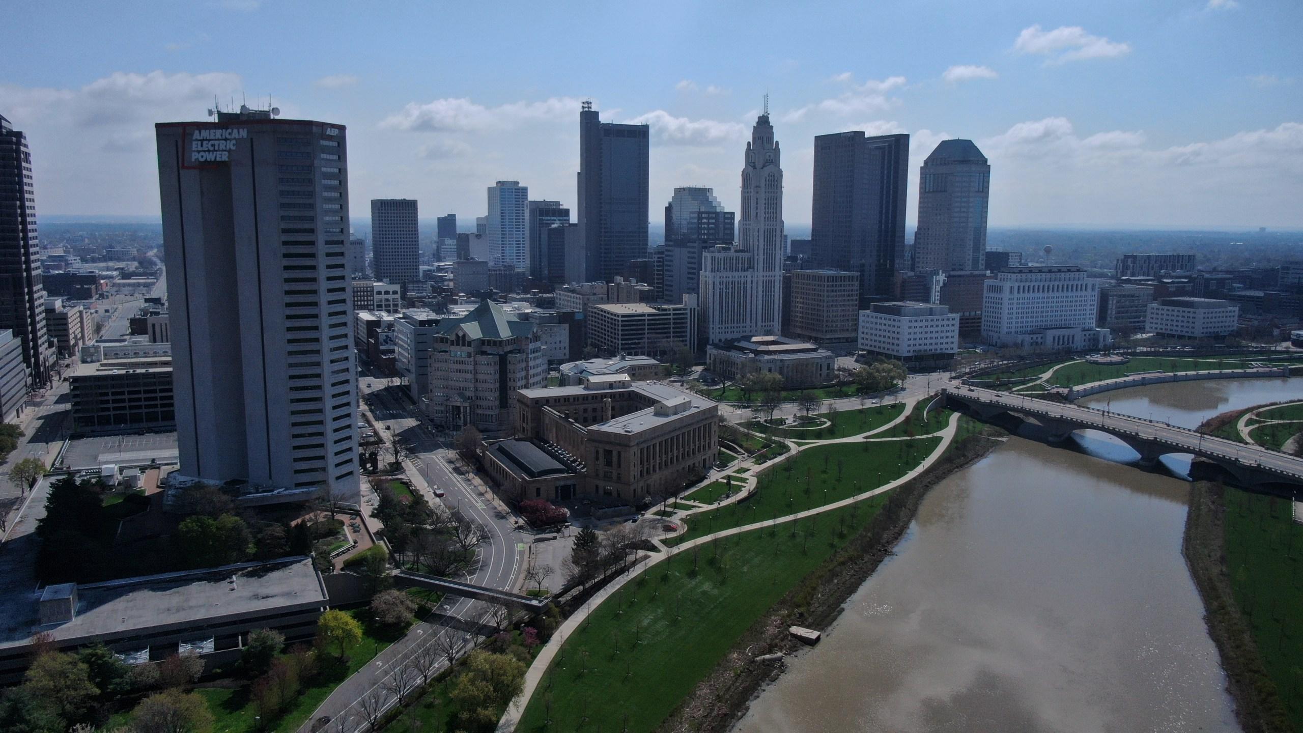 Columbus skyline river drone spring