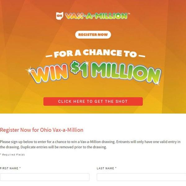 Vax-A-Million registration page
