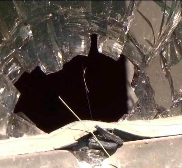 broken glass from bullet