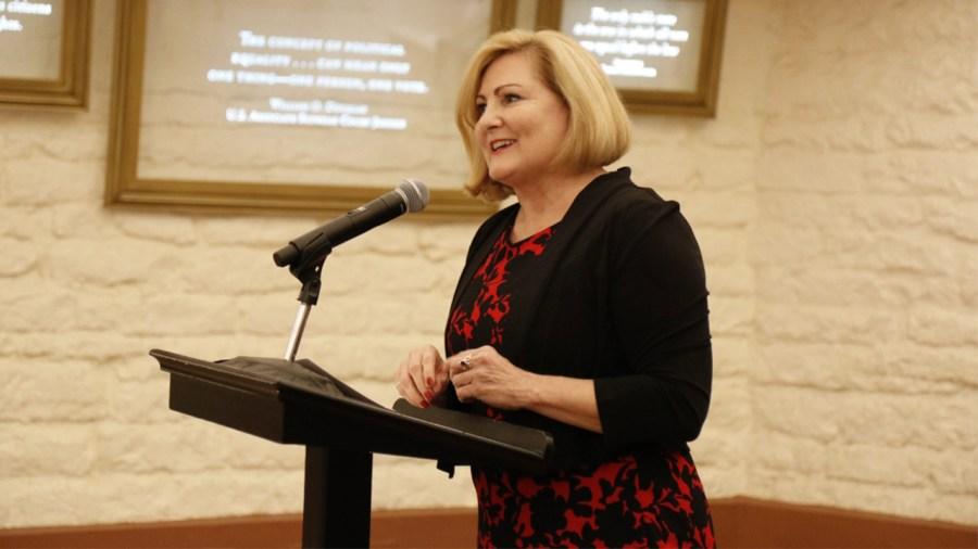 Ohio Senator Teresa Fedor speaking podium
