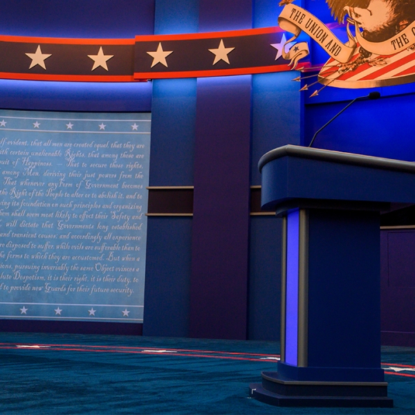 cleveland presidential debate 2020 empty stage podiums